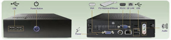Fanless computer, front and rear view
